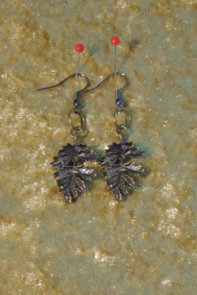 Earrings, Brass Oak Leaves