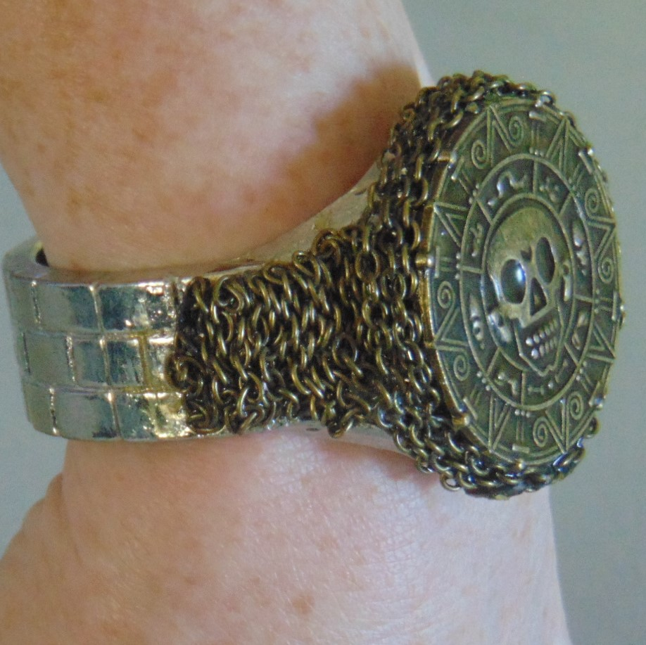 Bracelet - Brass Effect Dubloon & Chains on White Metal Band