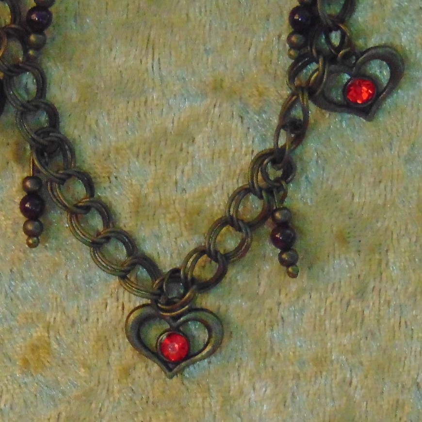 Bracelet - Bronze Hearts & Garnet Beads