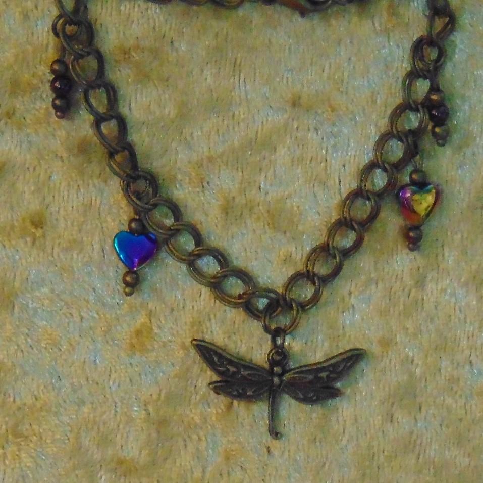 Bracelet - Dragonfly Charm, Hematite Hearts & Garnet Beads