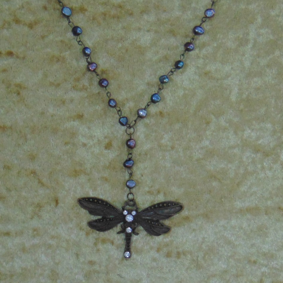 Necklace - Dragonfly Pendant on Black Fresh Water Pearl Chain