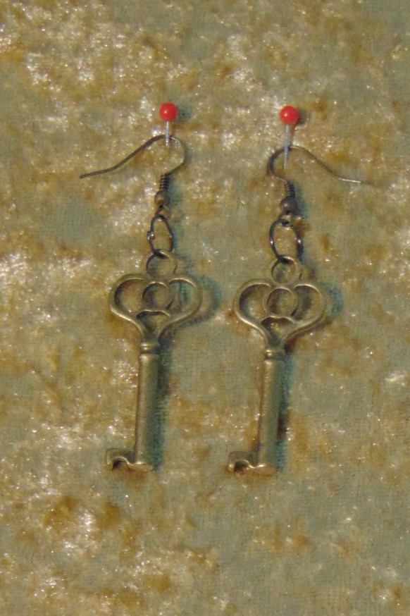 Earrings, Brass Cabinet Keys