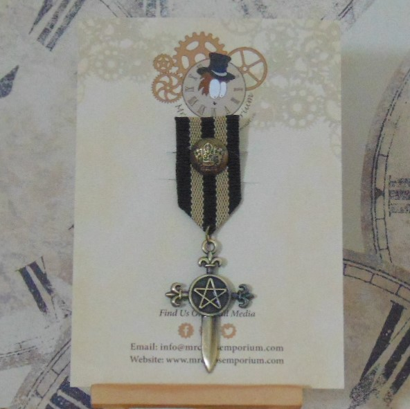 Medal #3 - Gothic Sword, black/beige ribbon