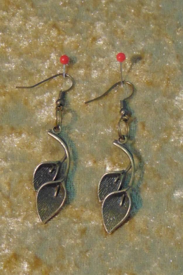 Earrings, Brass Peace Lily