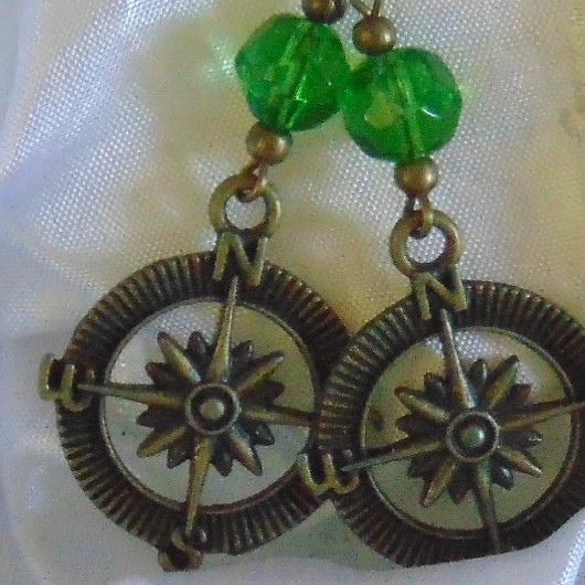 Earrings - Brass Effect Metal Compass