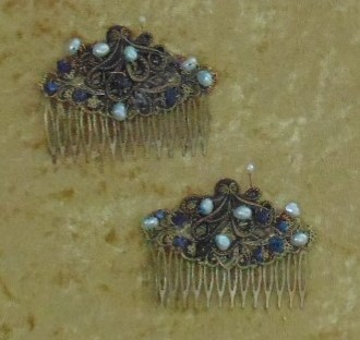 Haircombs - Pair of Metal Haircombs with Undersea Theme