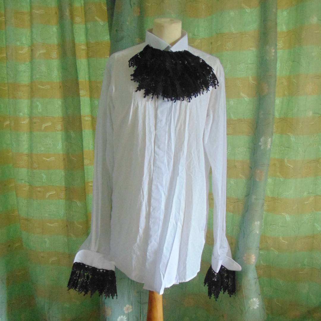 "Men's Shirt - Plain White Wing Collar Shirt with Black Lace Front & Cuffs, Size 17"" Collar."