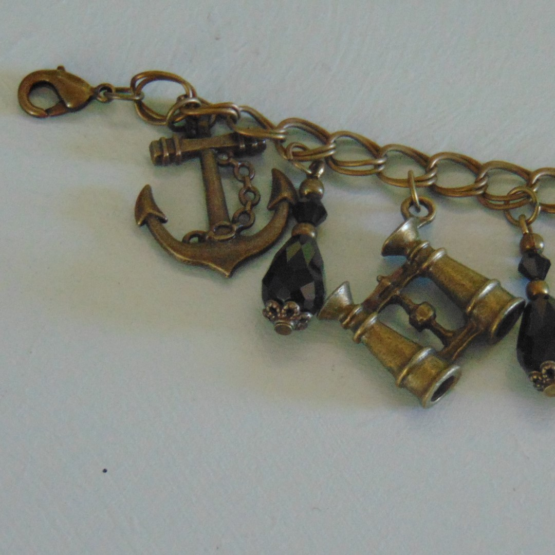 Bracelet - Brass Effect Chain & Nautical Charms with Black Beads