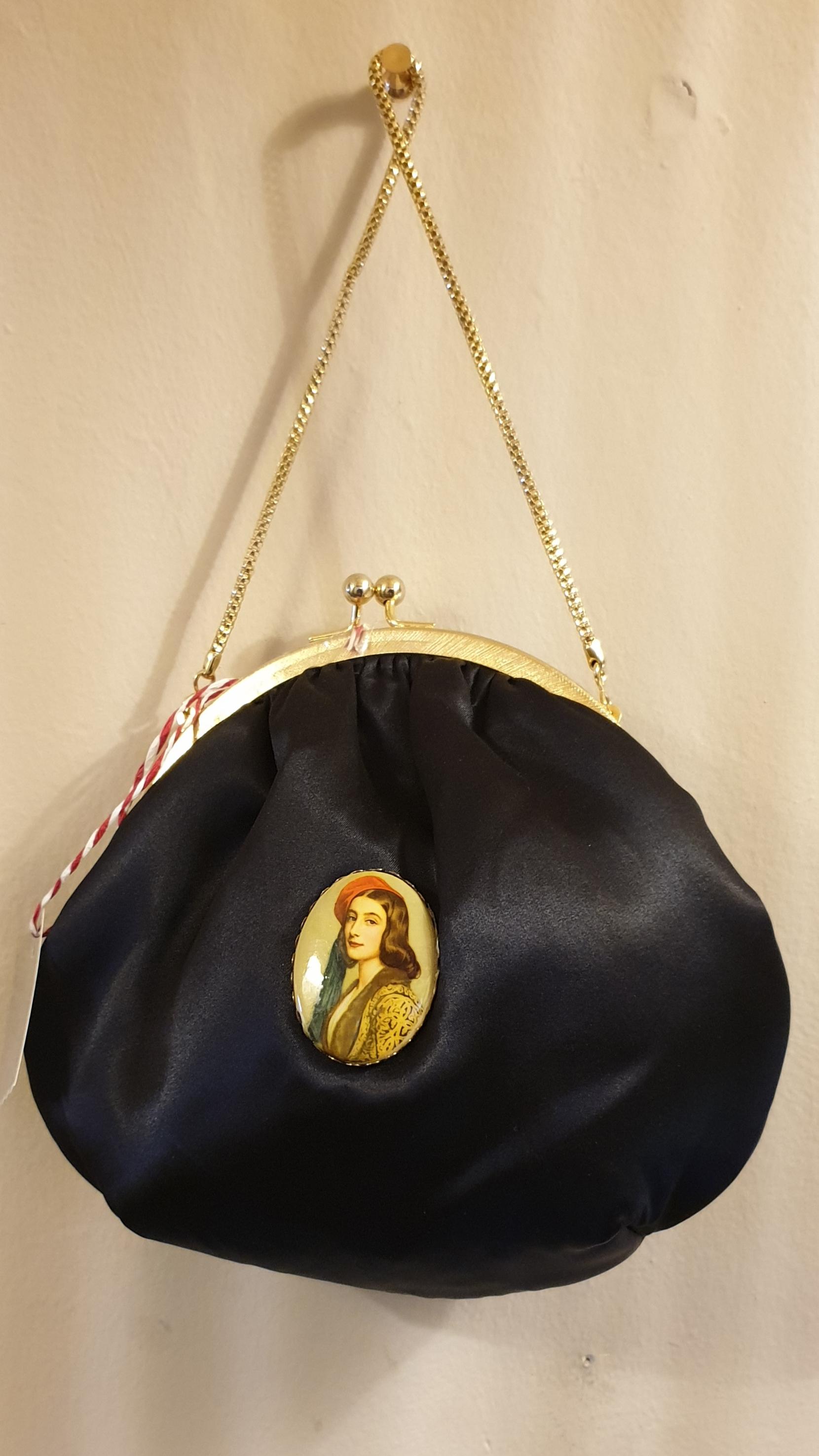 Black satin wrist bag