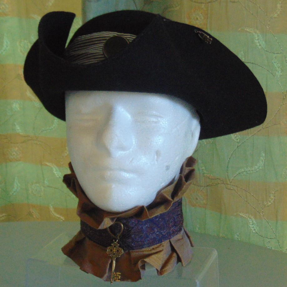 Tricorn Hat - Black Felt with Black & White Band