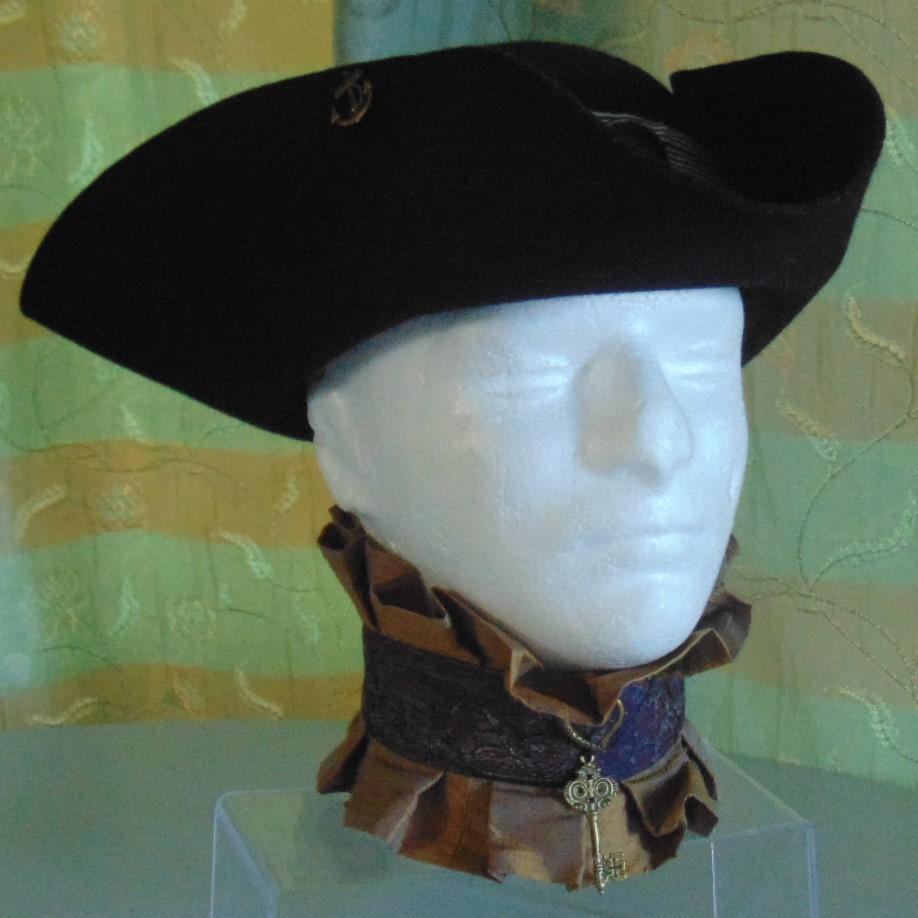Tricorn Hat - Black Felt with Black & White Band