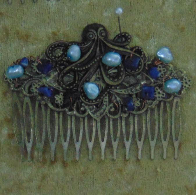 Haircombs - Pair of Metal Haircombs with Undersea Theme
