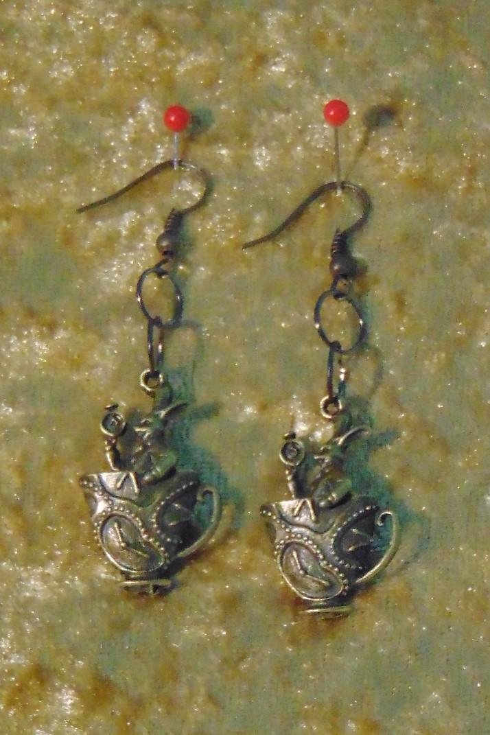 Earrings, Brass White Rabbit in a Teacup