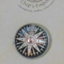 Brooch Badge - Classic Compass in White & Black