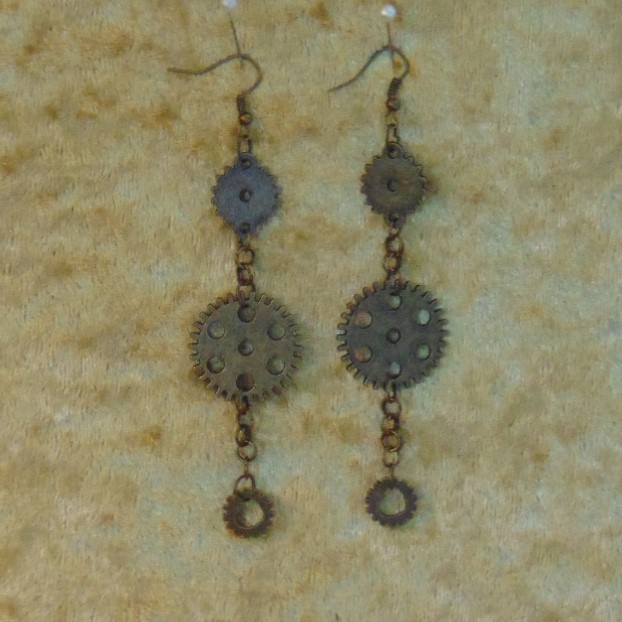 Earrings - Long Drop with Gear Charms
