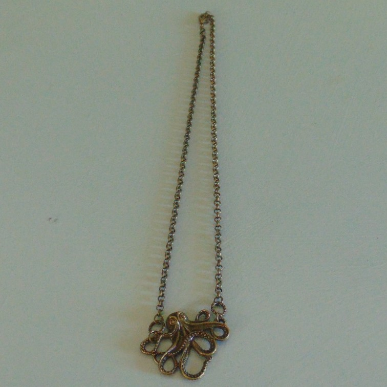 Necklace - Brass Effect Octopus on Brass Chain