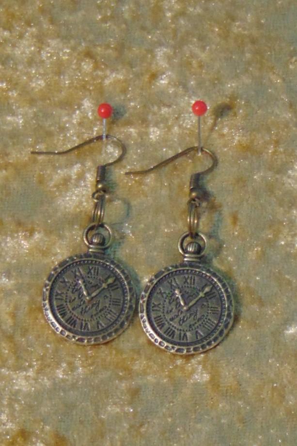 Earrings, Brass Pocket Watch Design