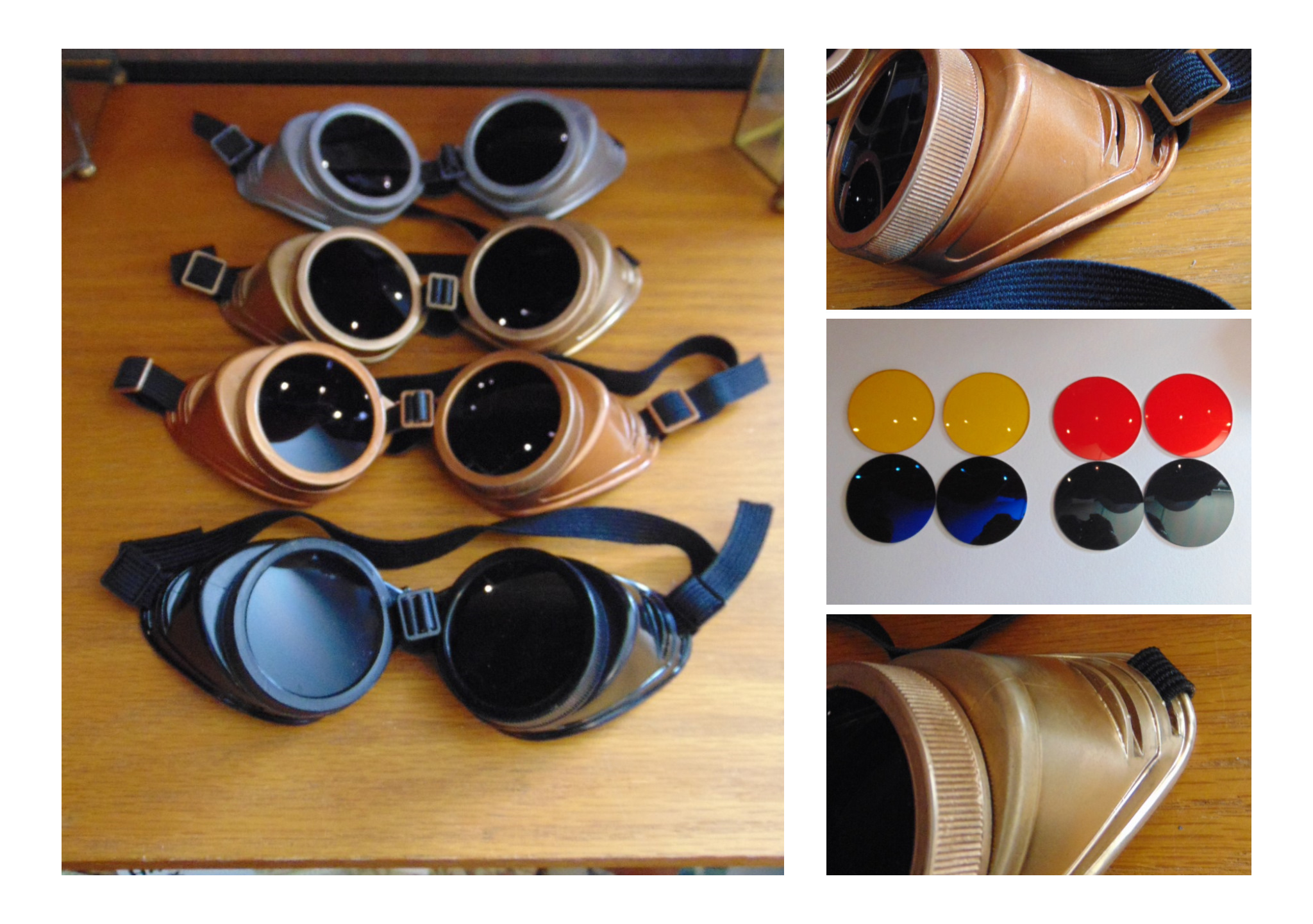 Goggles, vintage style with choice of lens colour.