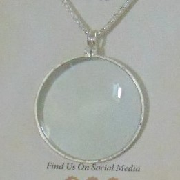 Magnifier, Silver Tone Metal on Chain.