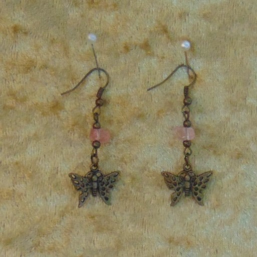 Earrings - Short Drop with Small Butterfly Charms