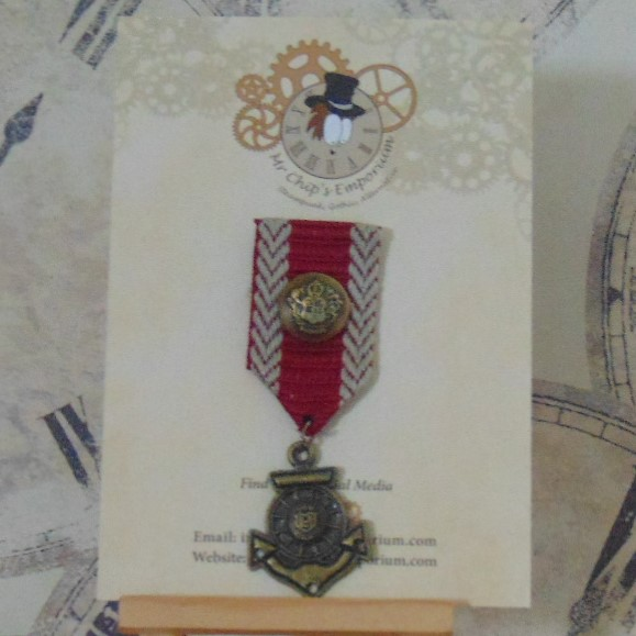 Medal #4 - Anchor, red/beige ribbon