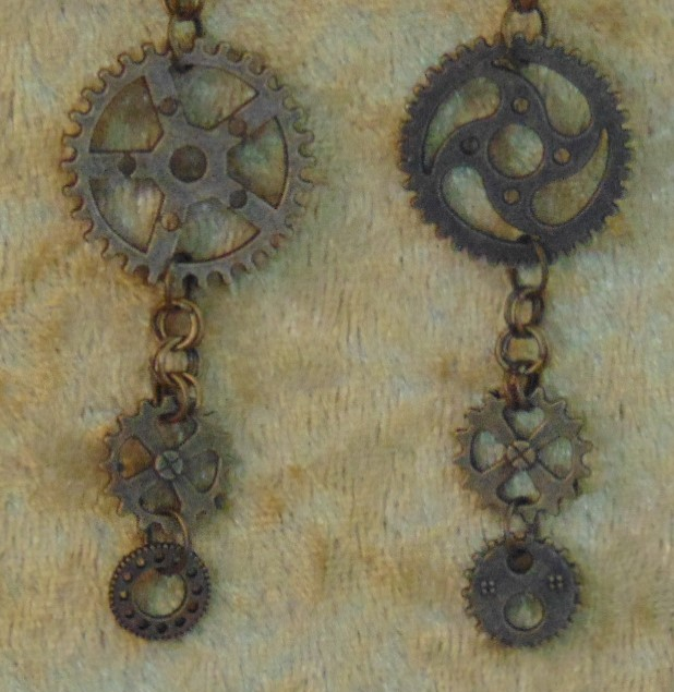 Earrings - Long Drop Mismatched Gear Charms