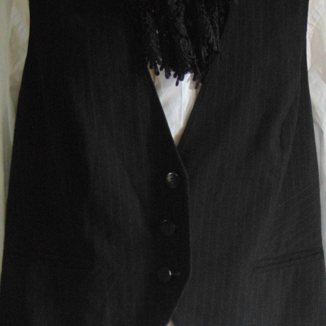 Waistcoat - Ladies Black & Tan Pin Stripe, Size 20
