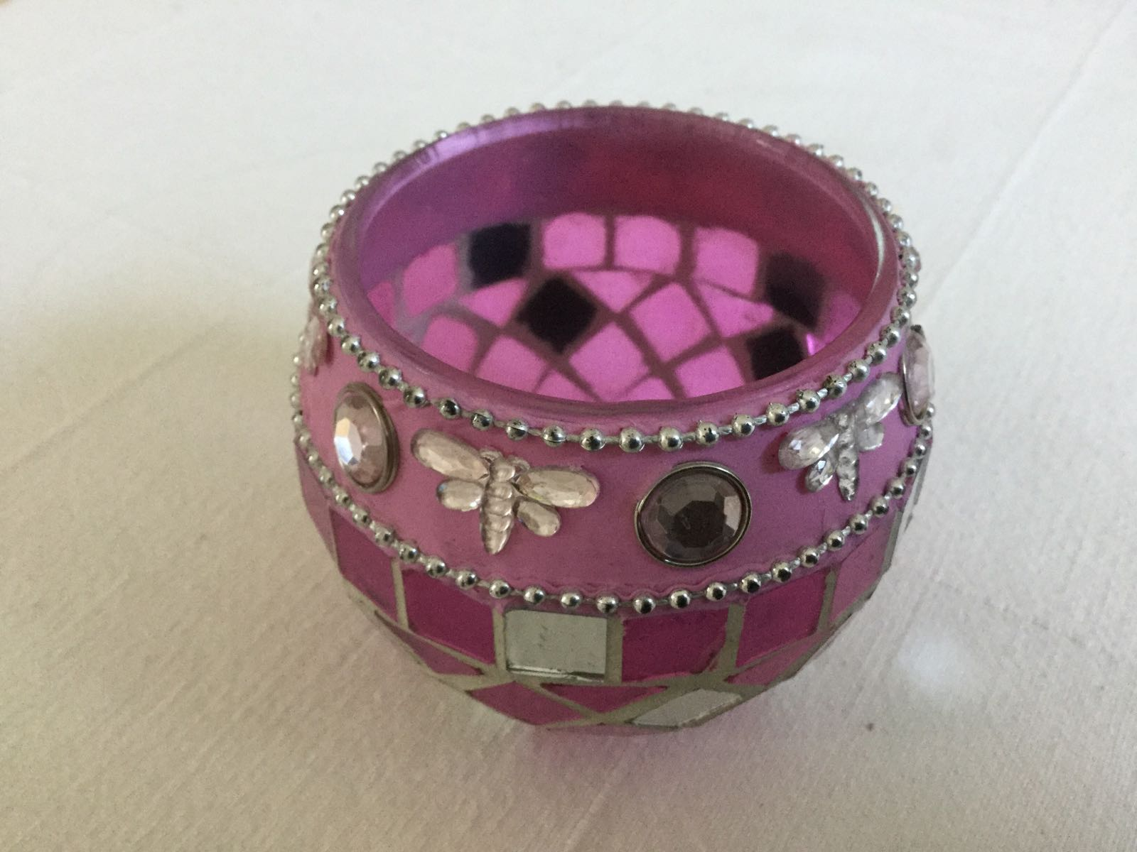 Ljuslykta, rosa mosaik (second hand, vintage, retro)