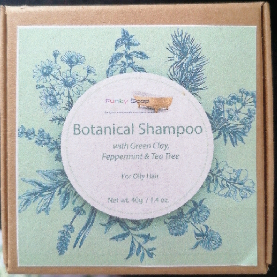 Botanical Shampoo Cubes with Green Clay and Peppermint - for Oily Hair, 40g