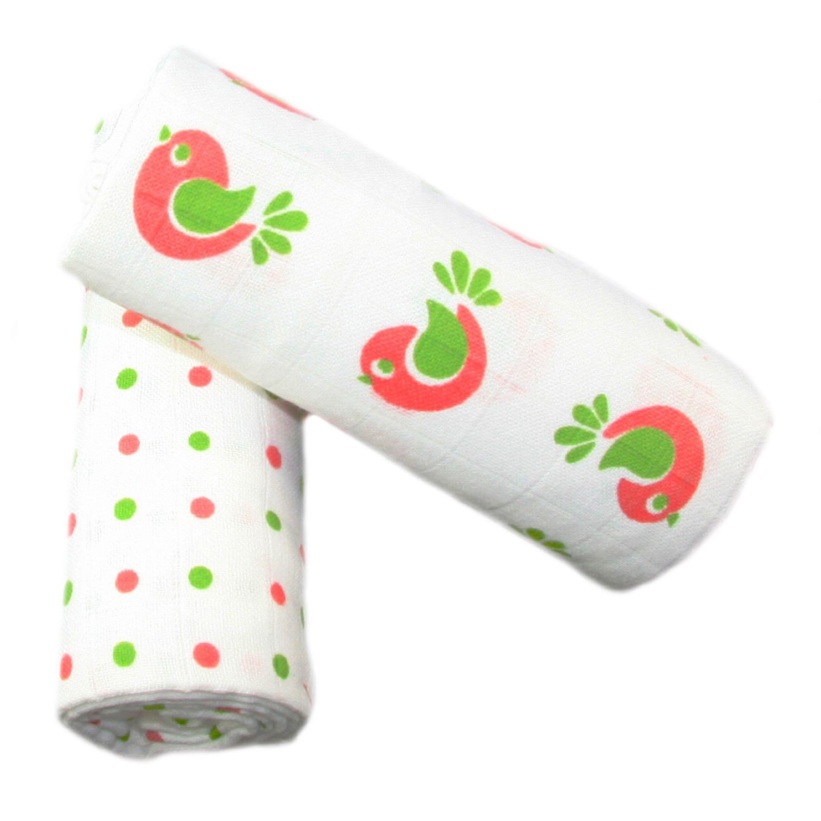 MuslinZ 2 Pack Muslin Swaddles 100*90cm - Pink Spot / Bird