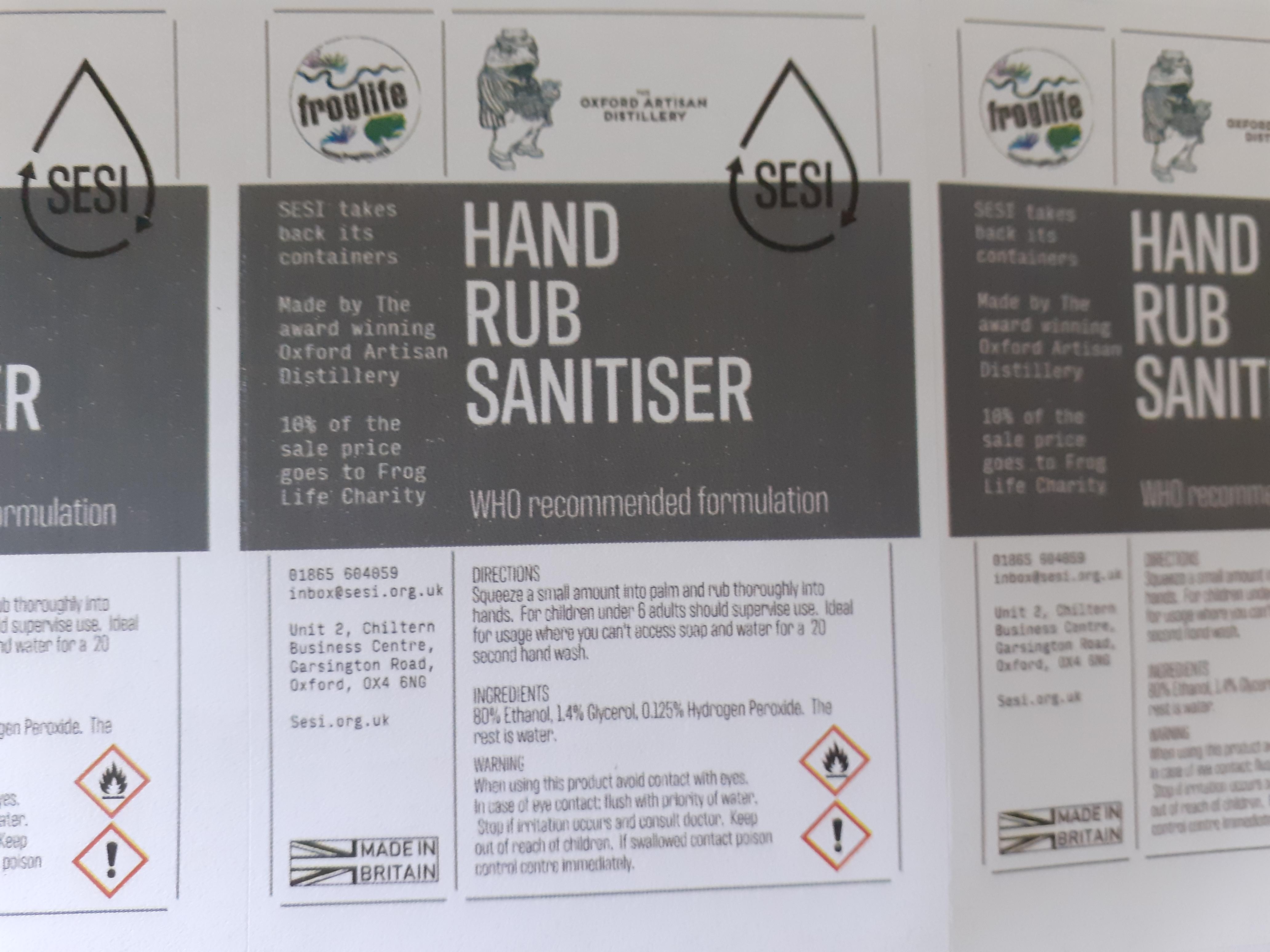 Hand Rub Sanitiser - per 100g /ml
