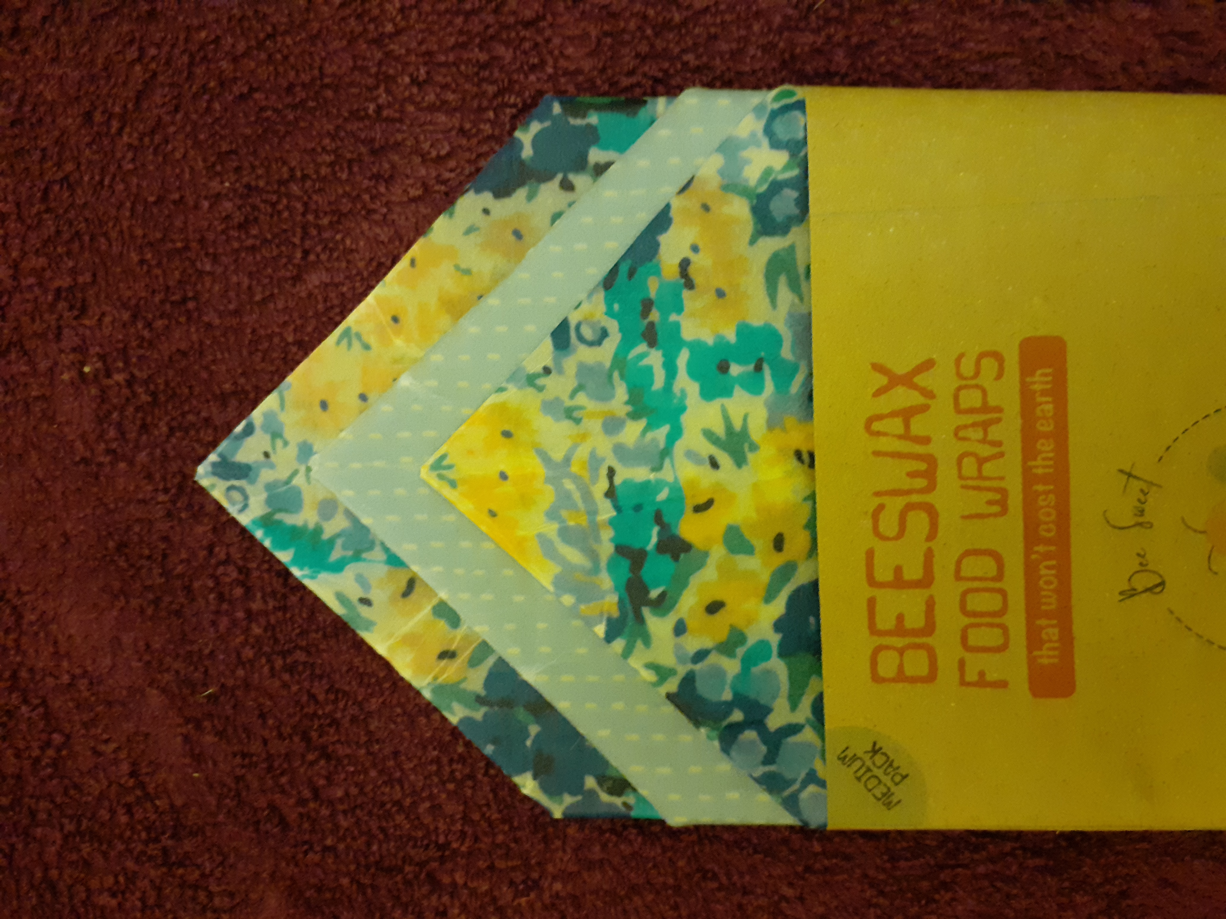 Beeswax Wraps - Medium - pack of 3