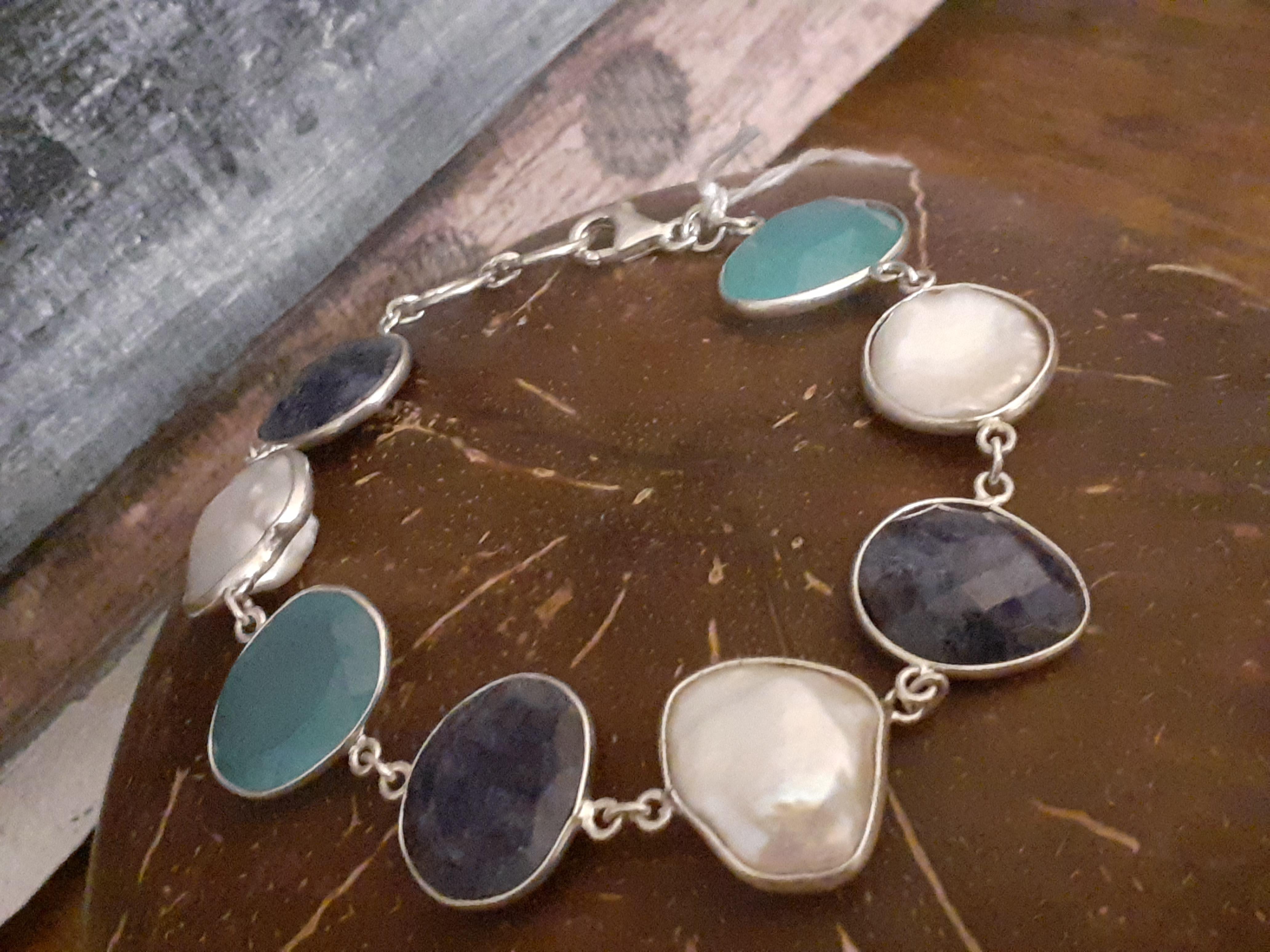Blue and White Stone Bracelet (B1)