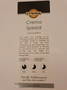 Crema spesial kaffe filtermalt