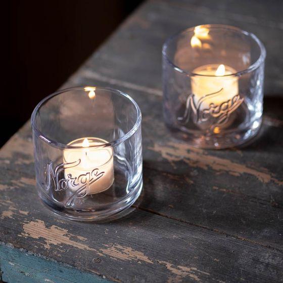 Lyslykter Norge glass 2pk