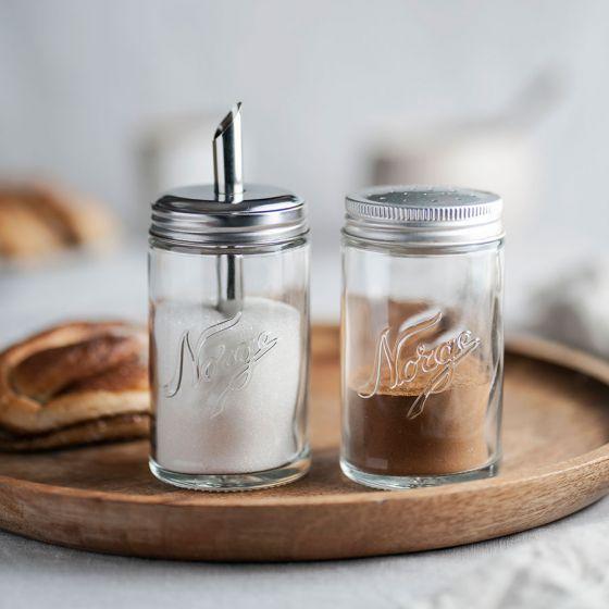 Norgesglasset sukkerbøsse med 2 lokk