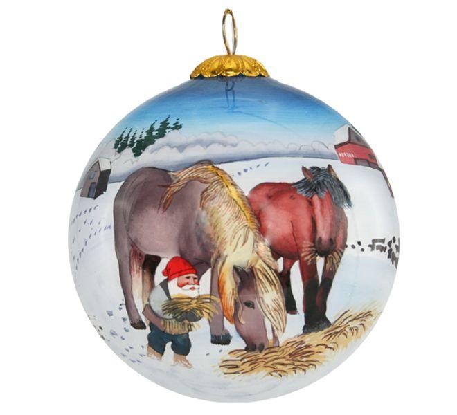 Julekule Håndmalt Nisse med 2 hester