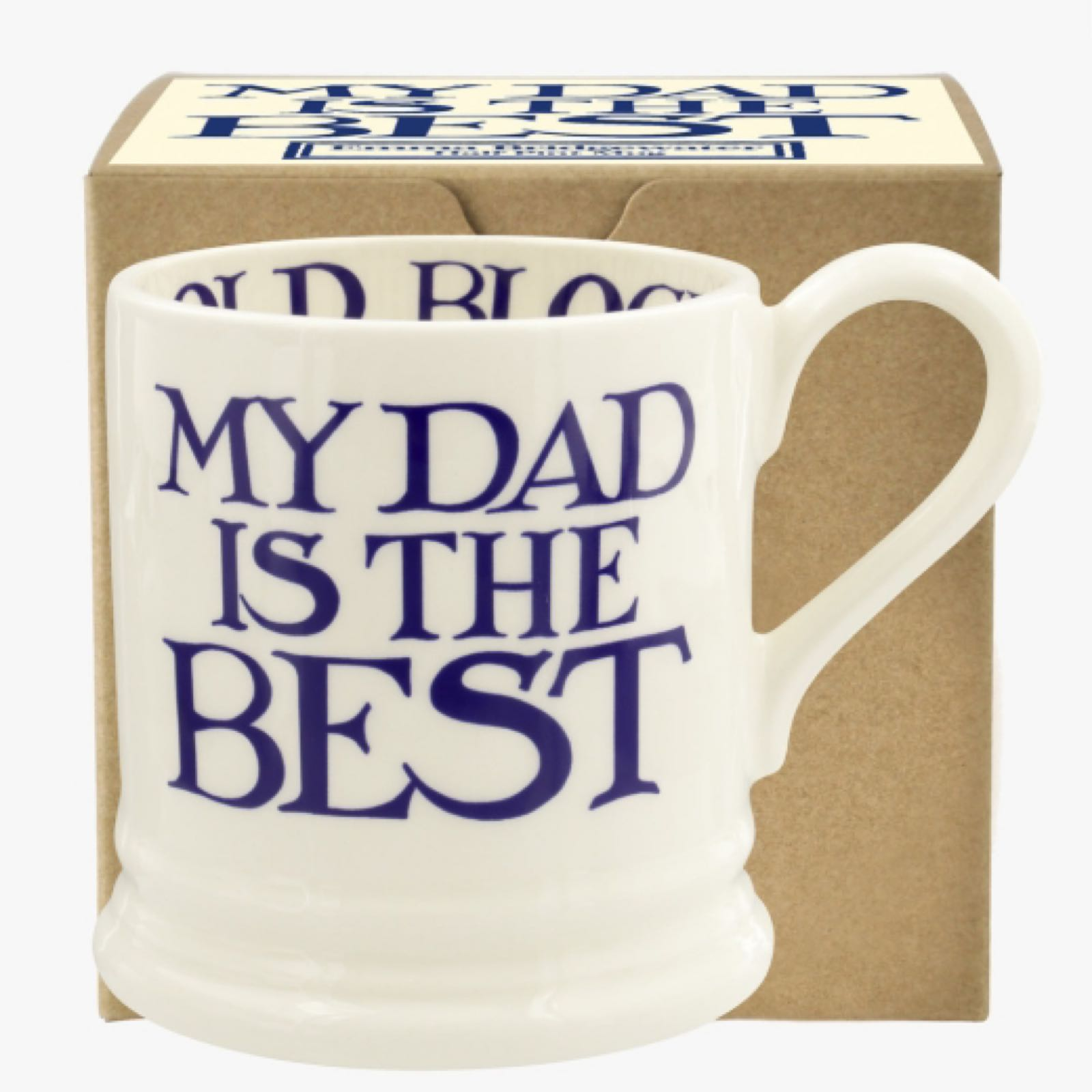 Emma Bridgewater Blue Toast and Marmalade My Dad Is The Best 1/2 Pint Mug Boxed