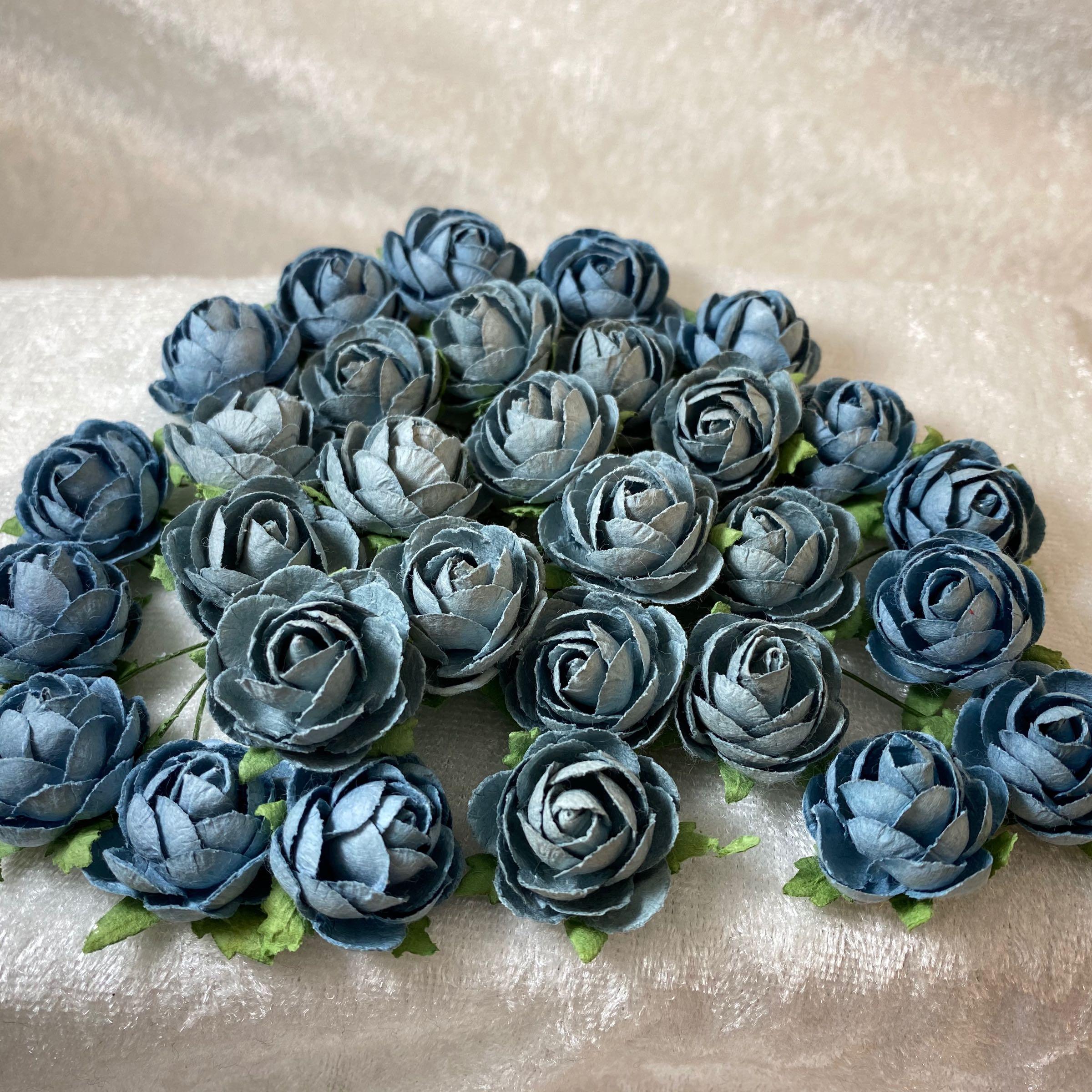 Papirdesign blomst roser 2cm gammelblå
