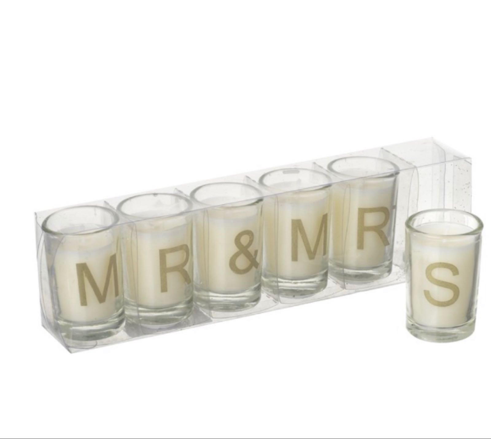 Mr and Mrs candles  - gold letters