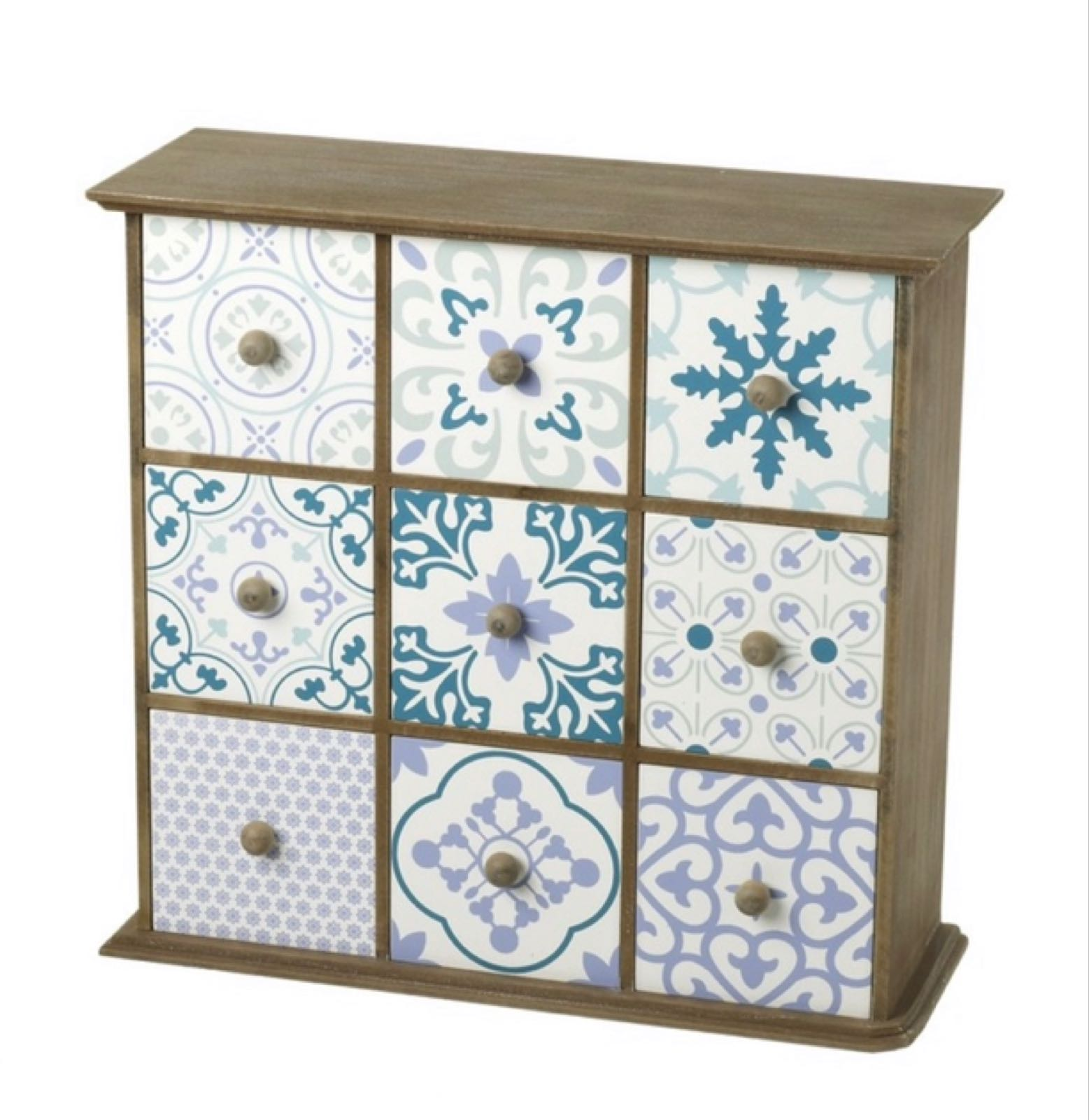 Patterned wooden 9 drawers