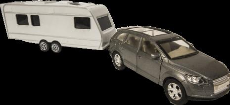 Audi A6 med husvagn
