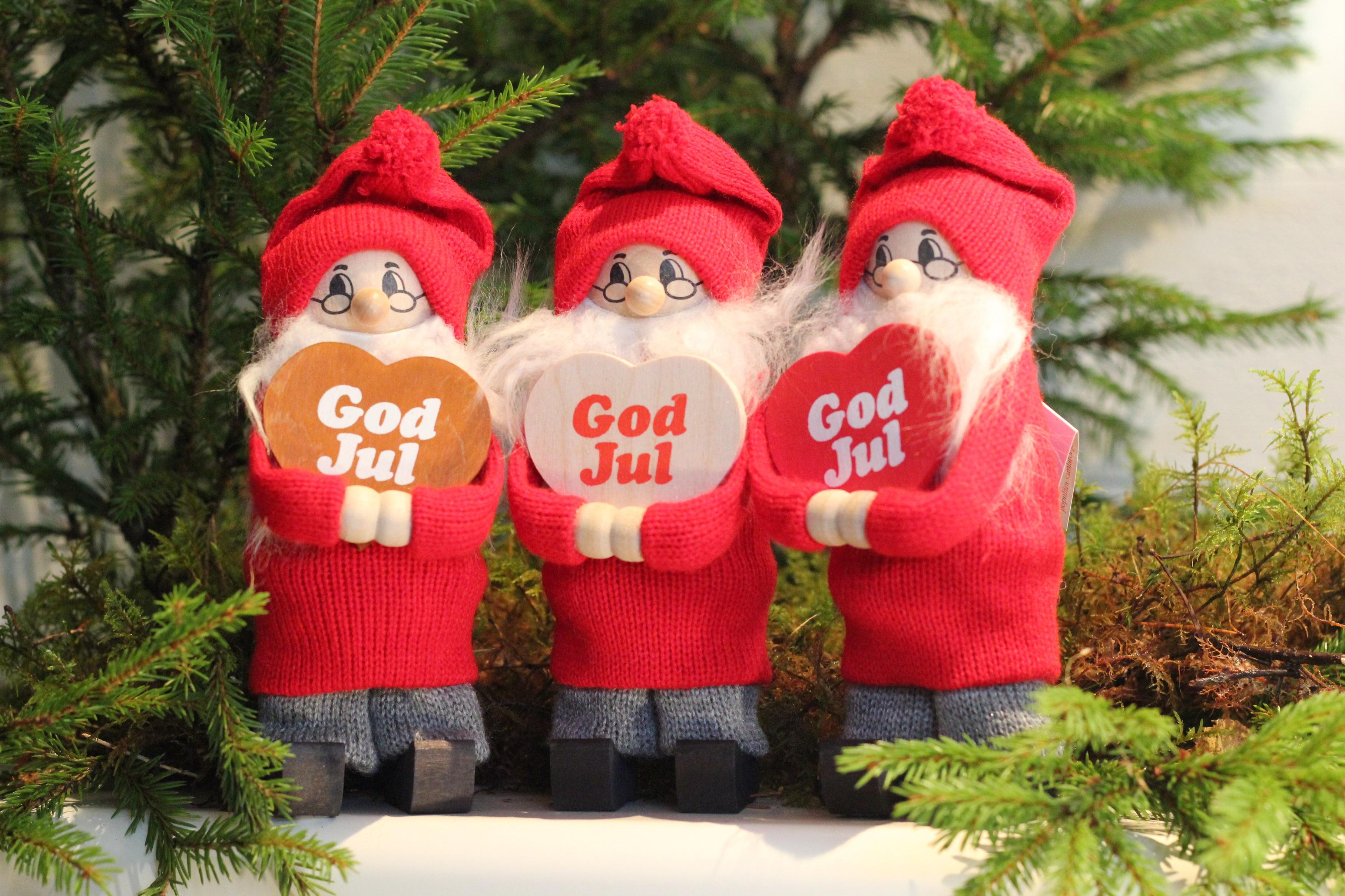 Tomte med god jul-hjärta (rött)