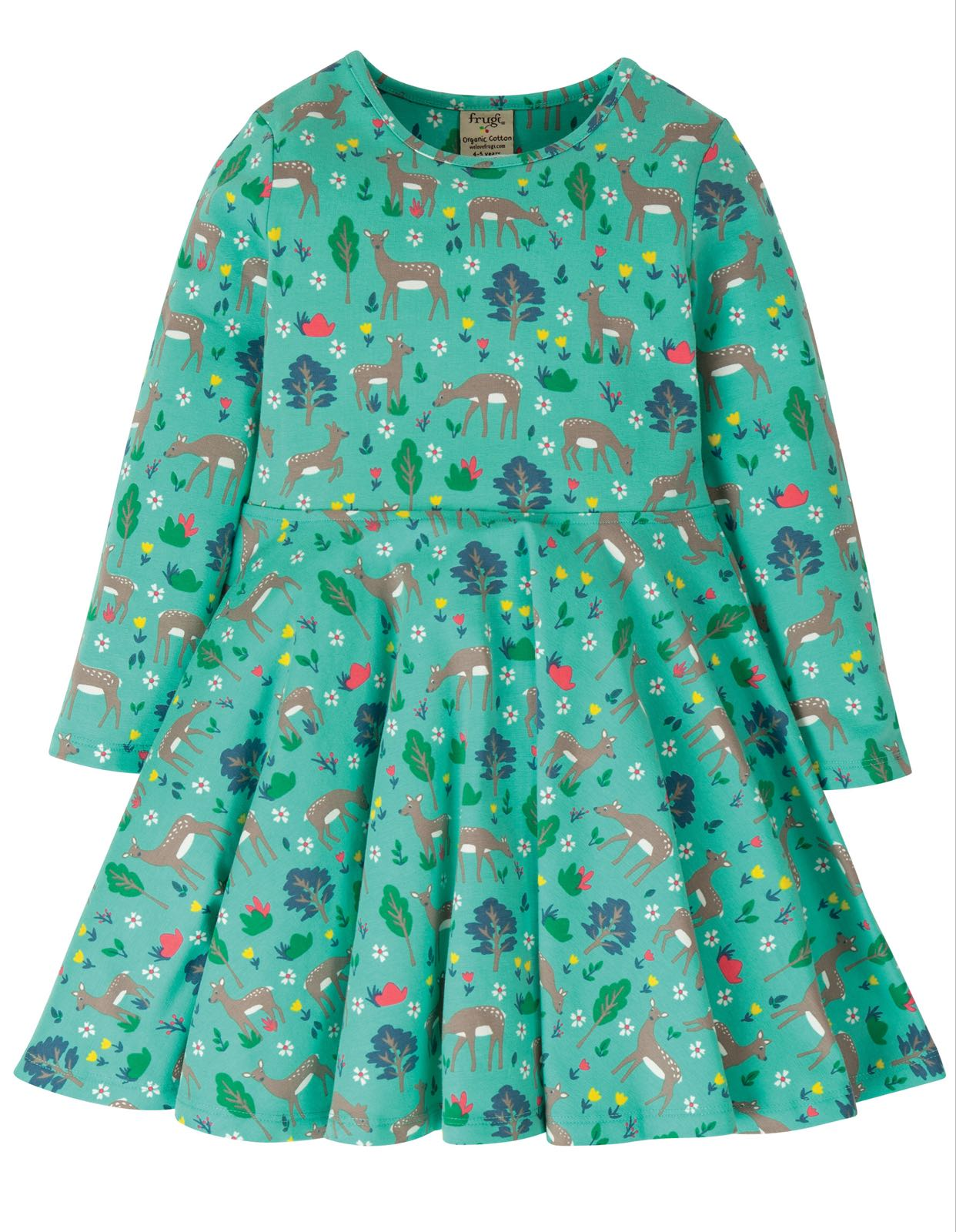 Frugi Sofia Skater Dress, Pacific Aqua Sika Deer