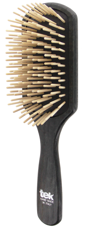 TEK Large paddle brush with long wooden pins, Black 4536