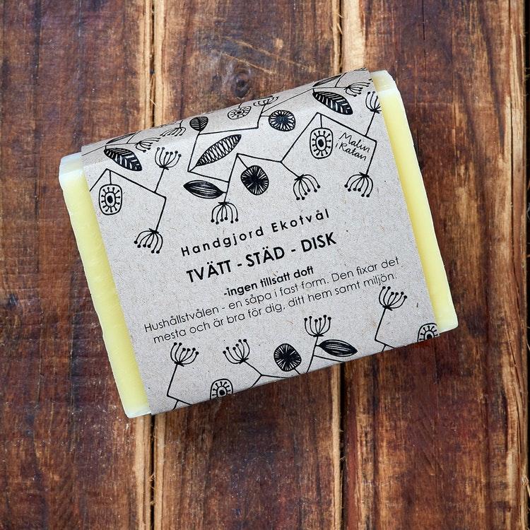 Ekotvål Tvätt-Städ-Disk - ingen tillsatt doft Fast tvål 160g