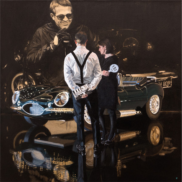 Car Auction, Jaguar XKSS Mounted Giclee Reproduction By Iain Faulkner