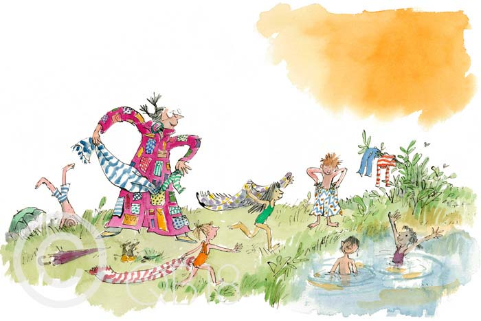 Her overcoat has pockets galore - Quentin Blake