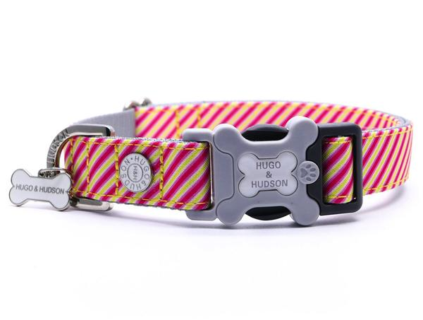 H&H Dog Collar Pink and Yellow Stripe