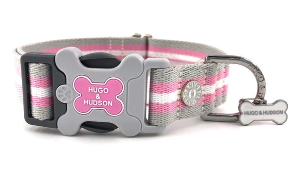H&H Dog Collar Pink Classic Stripe